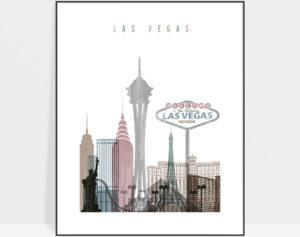 Las Vegas skyline poster distressed 1