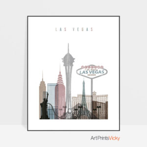 Las Vegas skyline poster distressed 1