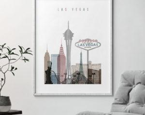 Las Vegas skyline poster distressed 1 second