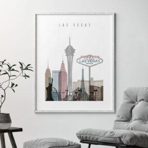 Las Vegas skyline poster distressed 1 second