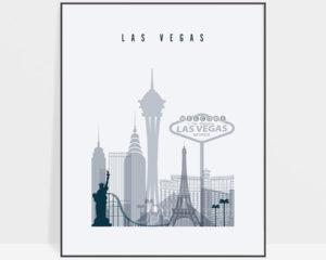 Las Vegas skyline poster grey blue