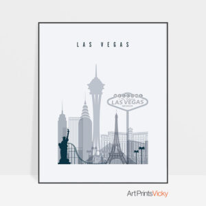 Las Vegas skyline poster grey blue