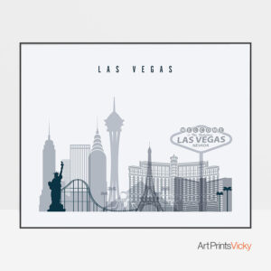 Las Vegas skyline art grey blue landscape