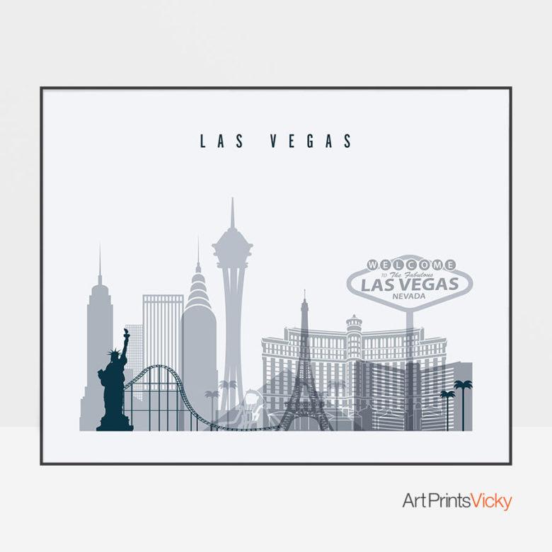 Las Vegas skyline art grey blue landscape