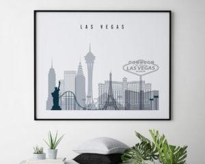 Las Vegas skyline art grey blue landscape second