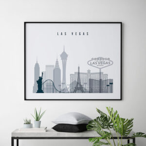 Las Vegas skyline art grey blue landscape second
