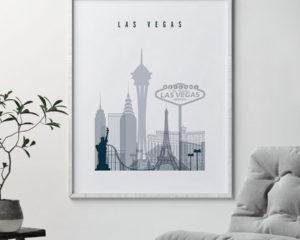 Las Vegas skyline poster grey blue second
