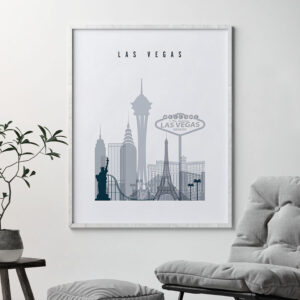 Las Vegas skyline poster grey blue second