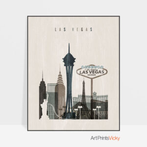 Las Vegas skyline print distressed 2