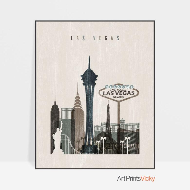 Las Vegas skyline print distressed 2