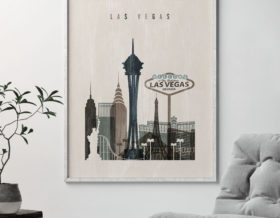 Las Vegas skyline print distressed 2 second