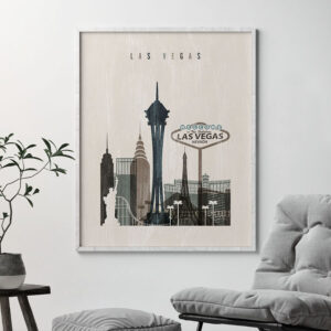 Las Vegas skyline print distressed 2 second