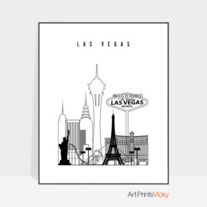 Las Vegas black and white skyline print