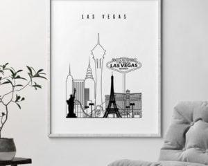 Las Vegas black and white skyline print second