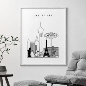 Las Vegas black and white skyline print second