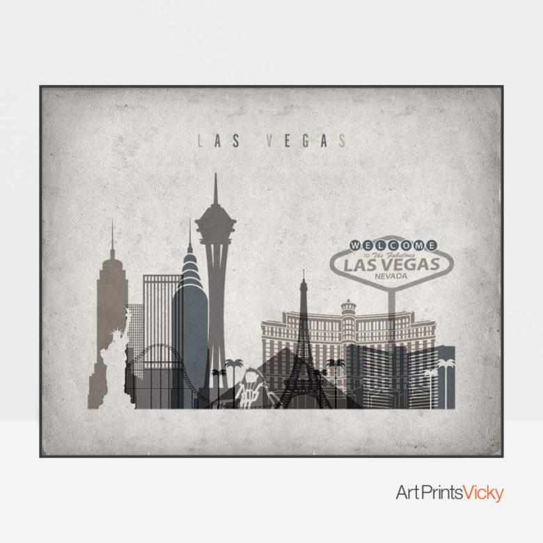 Las Vegas art print landscape retro