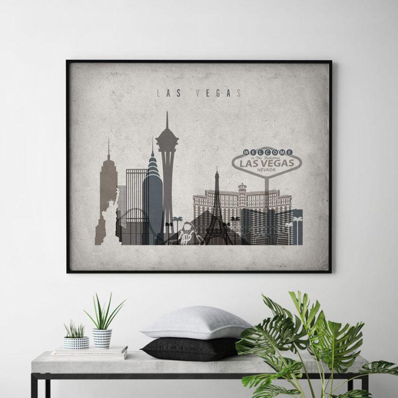 Las Vegas art print landscape retro second
