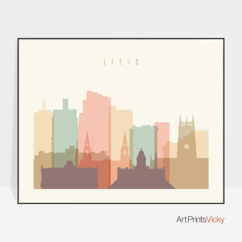 Leeds poster skyline pastel cream landscape