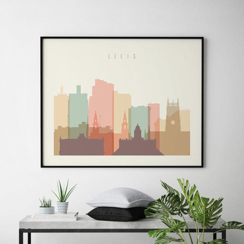 Leeds poster skyline pastel cream landscape second