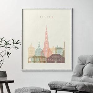 Leiden poster skyline pastel cream second