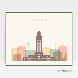Lincoln poster skyline pastel cream landscape