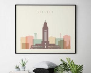 Lincoln poster skyline pastel cream landscape second