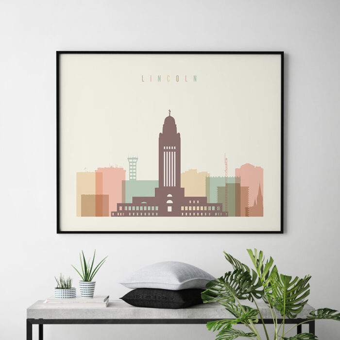 Lincoln poster skyline pastel cream landscape second