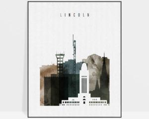 Lincoln skyline art print watercolor 2