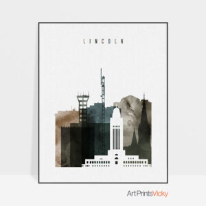 Lincoln skyline art print watercolor 2