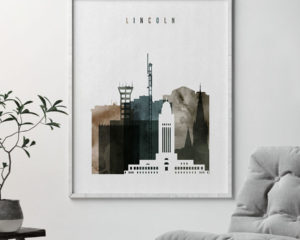 Lincoln skyline art print watercolor 2 second
