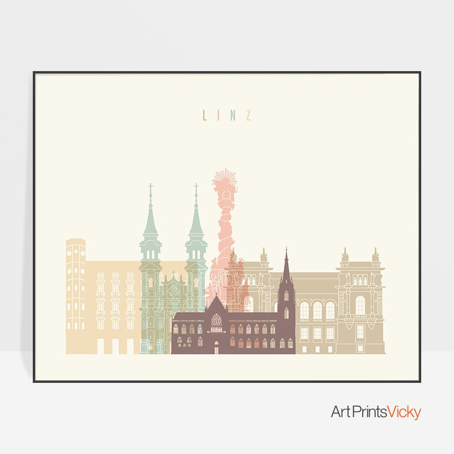 Linz skyline poster pastel cream landscape