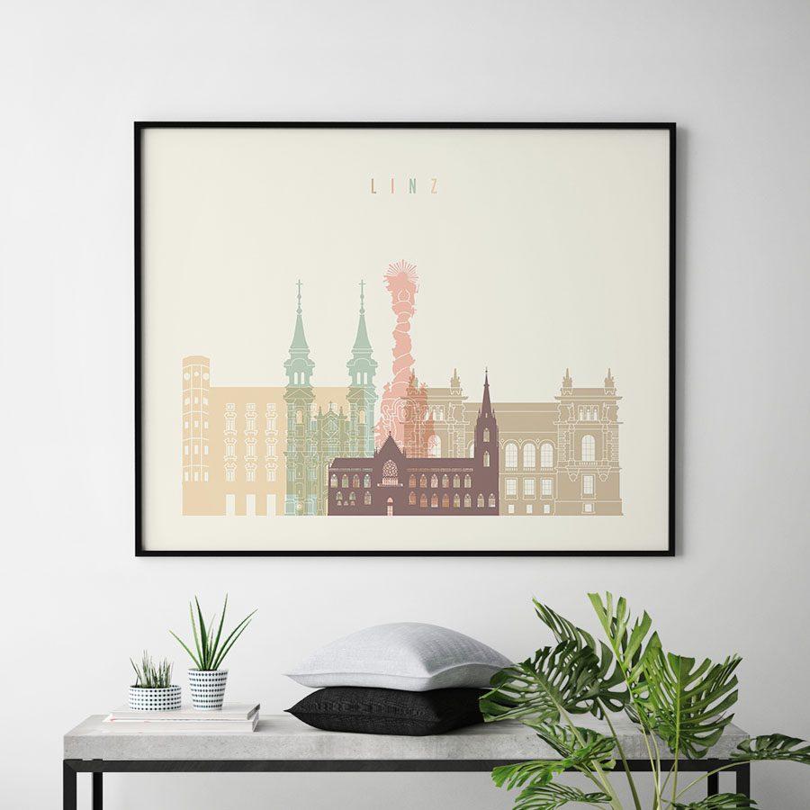 Linz skyline poster pastel cream landscape second