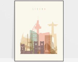 Lisbon art print skyline pastel cream