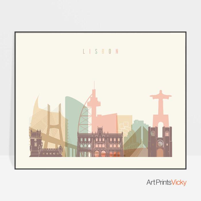 Lisbon skyline poster pastel cream landscape