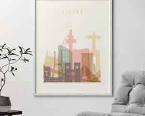 Lisbon art print skyline pastel cream second