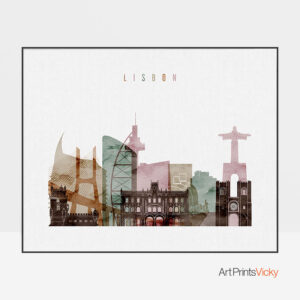 Lisbon poster watercolor 1 landscape