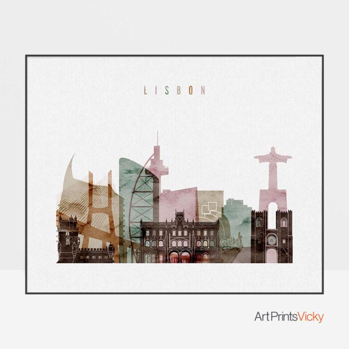 Lisbon poster watercolor 1 landscape