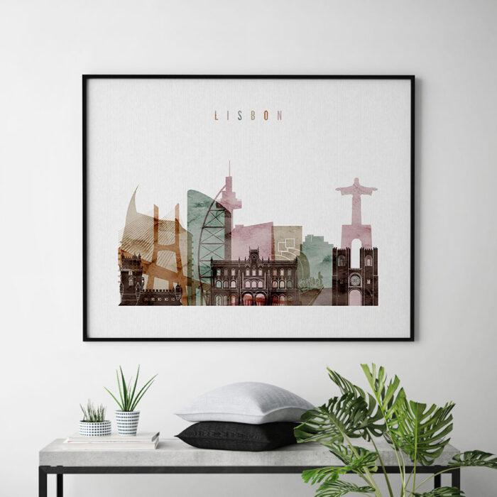 Lisbon poster watercolor 1 landscape second