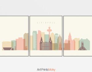 Liverpool triptych wall art pastel cream