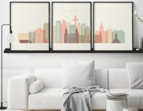 Liverpool triptych wall art pastel cream second