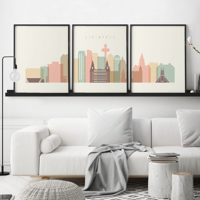 Liverpool triptych wall art pastel cream second