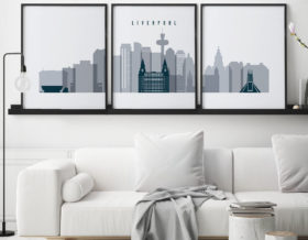 Liverpool skyline set of 3 prints grey blue second