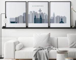 Liverpool skyline set of 3 prints grey blue second