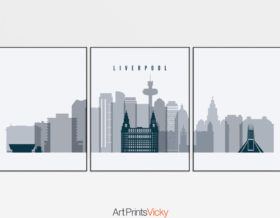 Liverpool skyline set of 3 prints grey blue