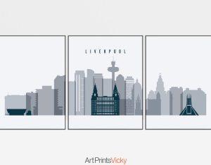 Liverpool skyline set of 3 prints grey blue