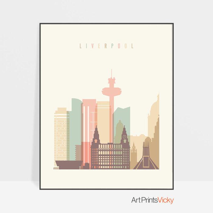 Liverpool art print skyline pastel cream