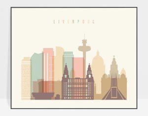Liverpool travel poster pastel cream landscape