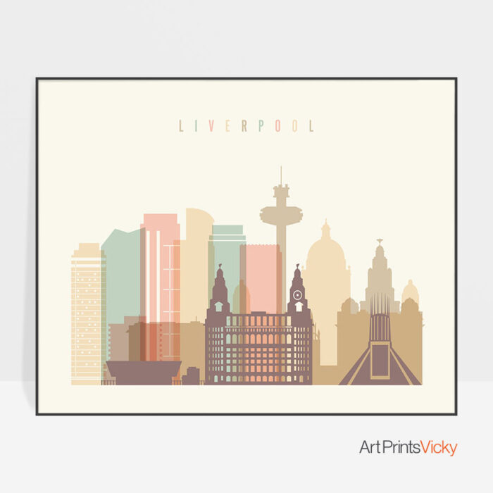 Liverpool travel poster pastel cream landscape
