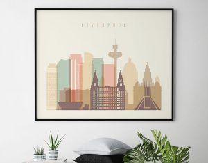 Liverpool travel poster pastel cream landscape second