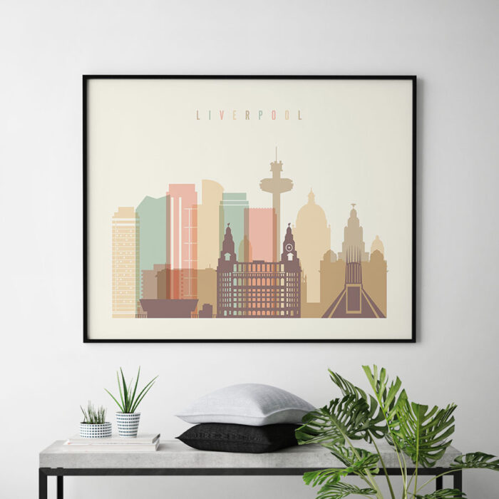 Liverpool travel poster pastel cream landscape second